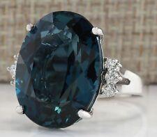 Fashion Jewelry Women Men 925 Silver Oval Blue Topaz Enagement PartyRing Size 6