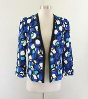 Kasper Blue Black White Abstract Polka Dot Print Open Blazer Jacket Size 8