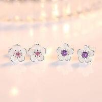 925 Silver Crystal Cherry Blossoms Flower Ear Stud Earrings For Women Girls