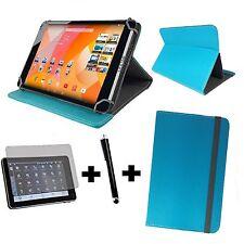 10.1 Zoll Universal Tablet Tasche - Schutzhülle Folie Pen -3in1 Hell Blau Türkis
