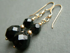 1950's Vintage Faceted French Jet Black Glass Beads & 14ct Rolled Gold Earrings