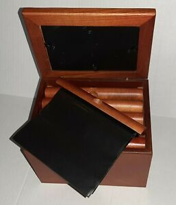 """Real wood photo box chest hinged top holds 100 pictures 8"""" x 6"""" x 6"""""""