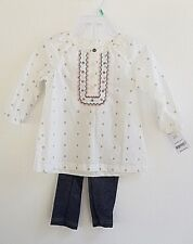 New! Carters Baby Girl Outfit 18 Months Cute Top & Stretch Denim Pants MSRP $24