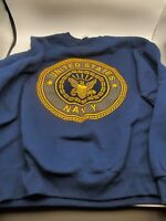 VTG MJ Soffe US Navy Men's Blue Spell Out Crewneck Sweater Sz XL