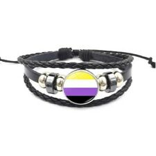 Non Binary Adjustable Leather & Glass Cabachon Wristband