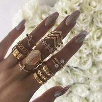 13Pcs/Set Boho Punk Gold Midi Finger Ring Vintage Crystal Knuckle Rings Jewelry.