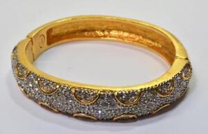 "PD PREMIER DESIGN Goldtone Rhinestones 2 3/8""d Hinged Bracelet Magnetic Clasp"