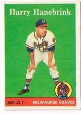 1958 Topps   HARRY HANEBRINK   MILWAYKEE BRAVES  # 454  Baseball Card   EX - NMT