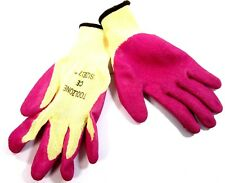 "Ladies 7 ""  Ex Small Latex Dipped Gardening Work Gloves Pink GL037"