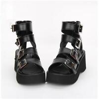 Women Buckle Strap Open Toe Gothic Punk Block Heels Platform Summer Sandals Sz