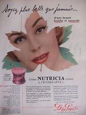 PUBLICITÉ 1957 M.G.PAYOT CRÈME NUTRICIA TEINTÉE A L'HYDRO-SÈVE - ADVERTISING