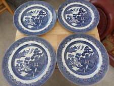 4 x JOHNSON BROS WILLOW DINNER PLATES - BLUE /WHITE - 26cm