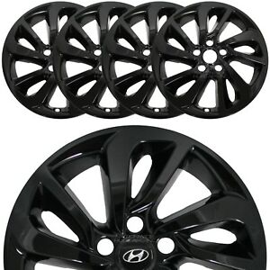 """Set of 4 fit Hyundai Tucson 2016-2018 Black 17"""" Wheel Skins Hub Caps Rim Covers"""