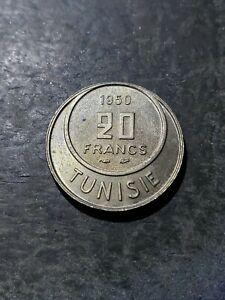 Tunisian 20 Francs Coin, 1950 (1370) - KM# 274 - Tunisia Muhammad VIII #july191