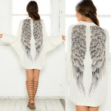 Women's Casual Long Sleeve Angel Wings Prints Coat Cardigan Jacket Tops.US