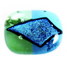 "DICHROIC Pin Fused Glass Lime Green Turquoise Blue Shard Round Small 1"" Brooch"