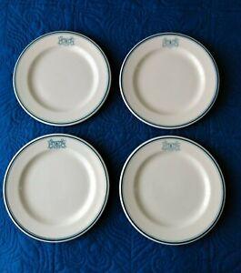 """4 VTG Harry Stevens Sterling Vitrified China Restaurant Ware 8"""" Dessert Plates"""