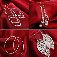 Fashion Women Jewelry 925 Silver Sterling vintage Dangle Earrings Elegant Stud