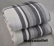 Hotel Collection Linen Plaid FULL / QUEEN Duvet Cover White - Black