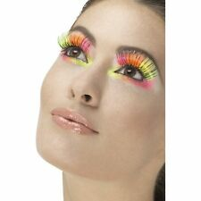 Neon Multi 80's Party Eyelashes Retro Kylie Womens Ladies Fancy Dress Accessory