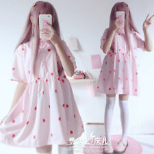 Summer Women's Short Sleeve Dress Japanese Pink Girl Preppy Style Lolita Dress