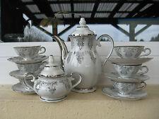 SERVICE MOKA porcelaine BAVARIA DECOR PLATINE