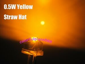 100pcs, 8mm 0.5W Yellow Straw Hat High-power Diodes LED Lamp StrawHat Leds New