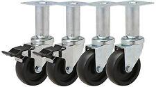 """Adjustable Top Plate 3"""" Caster Set: 3-1/2x3-1/2 TP. Set of 4 - 2 with Brake"""