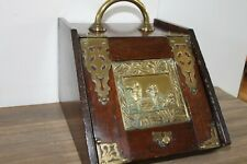 Antique Wood and Brass Fireplace Coal Scuttle Tinderbox