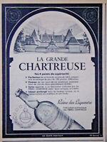 PUBLICITÉ PRESSE 1952 LA GRANDE CHARTREUSE 4 POINTS DE SUPÉRIORITÉ - ADVERTISING