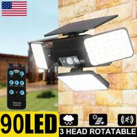 3 Head Outdoor 90 LED Solar PIR Motion Sensor Wall Flood Light Garden Lamp US