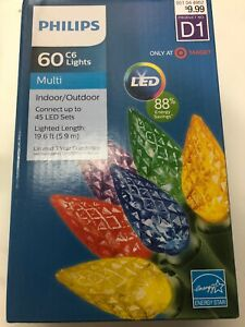 Philips 60 LED C6 Christmas String Lights Multi Color Green Wire D1 NEW