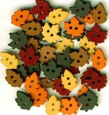 TINY RAKING LEAVES - Autumn Winter Fall Brown Sewing Dress It Up Craft Buttons