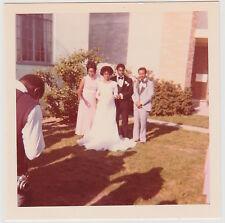 Square Vintage 70s PHOTO Photographer Taking Pics Of Black Wedding Couple Group