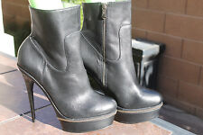 STEVE MADDEN BOOTS BLACK HIGH HEEL TALL LEATHER WOMENS SIZE 10 BIANCCA