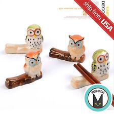 Lot 4pcs Owl on Branch Japan Zakka Ceramic Chopstick Rest Holder hashioki gift