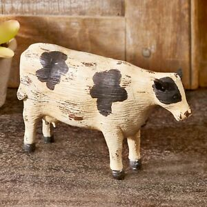 Ceramic Cow Statue with Distressed Finish - Farmhouse Home Accent