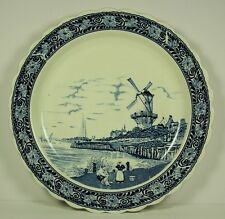 Large Holland Netherlands Dutch Blue Delft Plate Wall Hanging Serving Windmill
