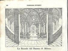 Stampa antica DUOMO DI MILANO interno Scurolo 1841 Old antique print