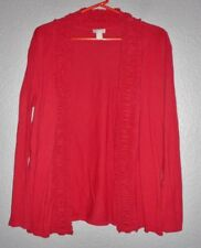 Chico's Women's Sweater Size 2 (Large/12) Knit Open Ruffled Red Cardigan  euc!