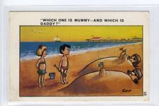 """(Sf433-100) """"Which is Mummy & Which is Daddy"""" Sandcastles   Unused G-VG, QUIP"""