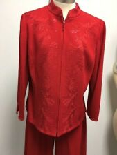 St John Evening Jacket pants red embroidered with red pialettes size 16 NWOT