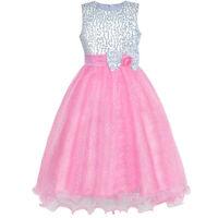 Sunny Fashion Robe Fille Fleur Rose Sequin Mariage Partie Demoiselle D'honneur