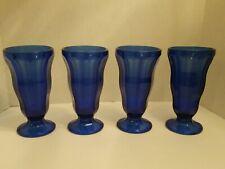 Set of 4 Anchor Hocking Cobalt Blue Tall Footed Parfait Sundae Ice Cream Glasses