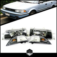 4pcs Set Front Headlights Black for Toyota Corolla E90 EE90 years 1988 to 1992