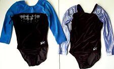 GK Elite Leotards Lot of 2 Small Blue Foil Black Velvet Jewels Gymnastics Dance