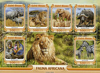 Guinea-Bissau Wild Animals Stamps 2016 MNH African Fauna Lions Elephants 6v M/S