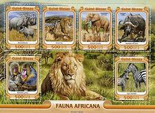 La Guinea-Bissau 2016 MNH Fauna africana 6V M / S Rhinos LEONI ELEFANTI Zebre