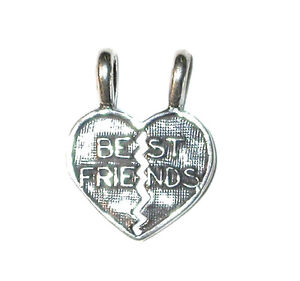 STERLING SILVER Word CHARM 2-charms BEST FRIENDS (break apart for each to wear)