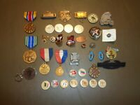 Large 39 Piece Lot Vintage Pinbacks Lapel Pins Military WWII Buttons Ribbons